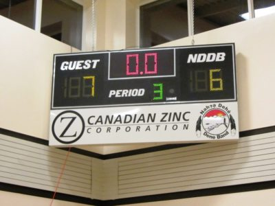 Canadian Zinc scoreboard at the Nahanni Butte gym