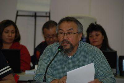 Wilbert Antoine speaking at Dehcho Leadership Assembly