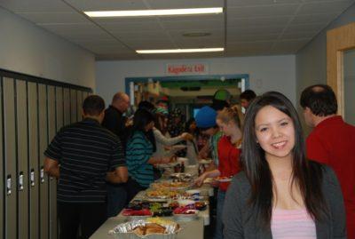 Students enjoying breakfast at Thomas Simpson school